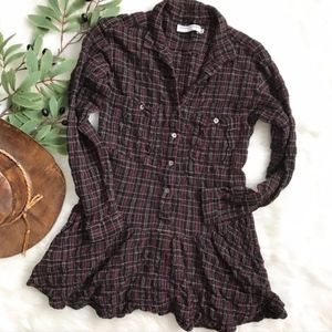 Opening Ceremony Plaid Button Down Tunic Top